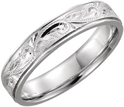 Platinum 5mm Hand-Engraved Band Size 7, Ring Size 7