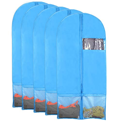 Kernorv Breathable Dust-Proof Garment Bags, Set of 5 Environmental Zipper Garment Bags for Dance Costumes, 51 Foldable Dance Garment Bags with Clear Window for Dance Dress, Storage or Travel (Blue)