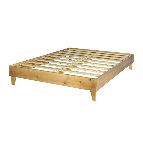 eLuxurySupply Wood Bed Frame - Made in The USA w/100% North American Pine - Solid Mattress Platform Foundation w/Pressed Pine Slats - Tool-Free Assembly -�Full
