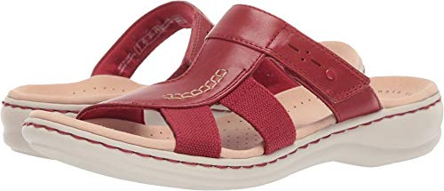 CLARKS Women's Leisa Emily Sandal, red Leather/Textile Combo, 100 W US