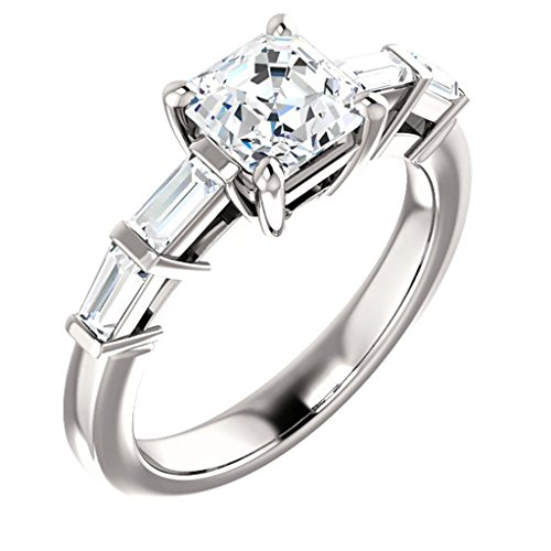 Asscher Cut Diamond Accented Engagement Ring - Asscher Tapered Ring