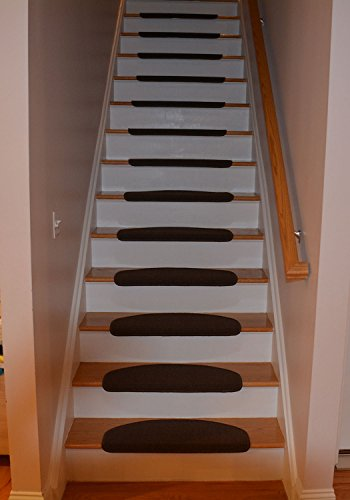 Stair Treads Collection Bullnose Indoor Skid Slip Resistant Carpet Stair Treads With Adhesive Strips (10 inch x 26 inch) (Brown, Set of 15) - Adhesive Stair Treads