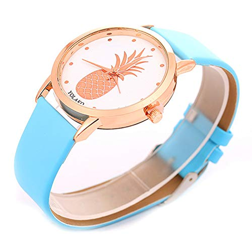 Ladies Watch, Women Pineapple No Number Round Dial Faux Leather Band Analog Quartz Wrist Watch by Gaweb (Image #3)