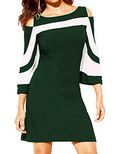Women's Summer Casual Cold Shoulder Tunic Top T-Shirt 3/4 Sleeve Shirts Swing Dress Dark Green