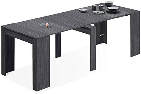 Habitdesign - Mesa de Comedor Consola, Mesa Extensible, Mesa para Salon recibidor o Cocina, Acabado en Gris Ceniza, Medida...