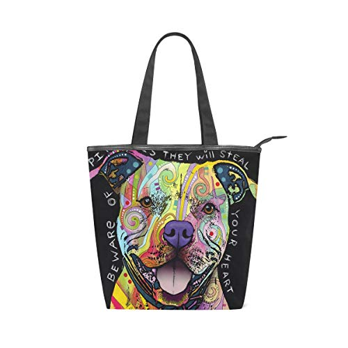 Pit Bull Handbag - The Pit Bulls Steal Your Heart Canvas Top Handle Tote Bag Shoulder Bag Handbag for Women