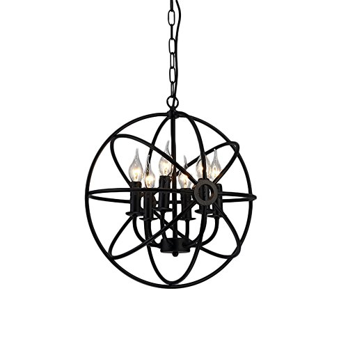 Pendant Light, MKLOT Ecopower Industrial Vintage Retro LOFT 16.54″ Wide Wrought Iron Metal Globe Cage Round Pendant Lamp Fixture Pendant Lighting Chandelier use 6 E14 Blubs