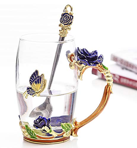 Flower Glass Tea Cups Luxury Upgrade Enamel Glass Coffee Cup Lead-Free Handmade Tea Mug Valentine's Day Present Best Friend Wedding Anniversary Unique Birthday Gifts for Women Mom Girls Grandma(12oz)