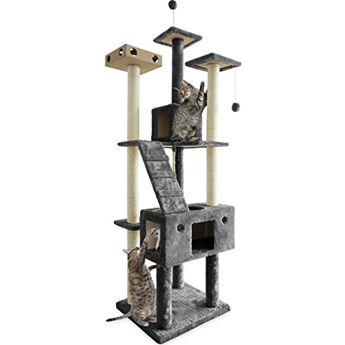 Furhaven Pet Cat Tree | Tiger Tough Cat Tree House Condo Entertainment Playground Furniture for Cats & Kittens, Double Decker Playground, Silver Gray