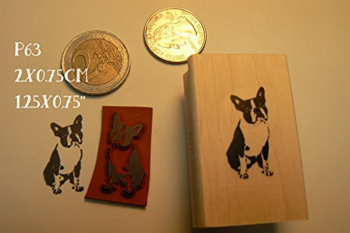 Miniature boston terrier dog rubber stamp P63