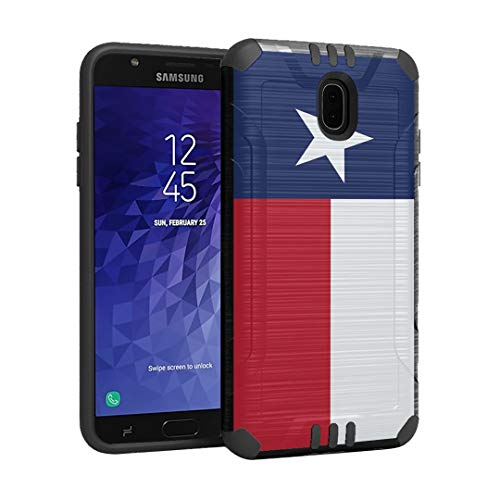 (Capsule Case Compatible with Samsung Galaxy J7 2018 (J737), J7 Star, J7 Aero, J7 Refine, J7V 2nd Gen, J7 Crown, J7 Eon [Hybrid Dual Layer Silm Defender Case Black] - (Texas Flag))