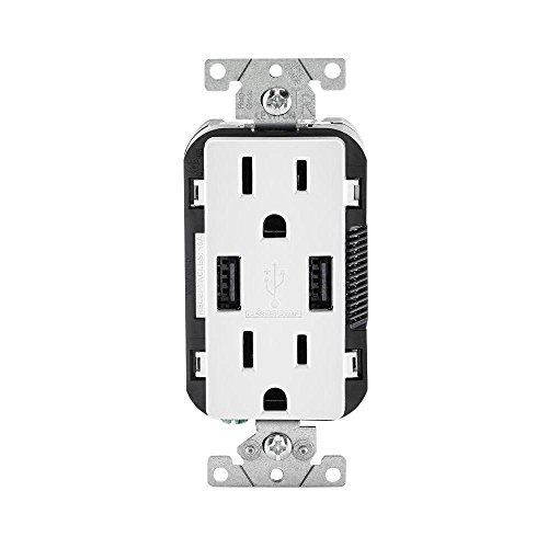 Leviton T5632-3BW 15-Amp USB Charger/Tamper Resistant Duplex Receptacle, White (Leviton Duplex Receptacles Decora)
