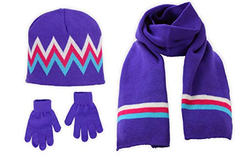 S.W.A.K Girls Knit Hat, Scarf And Gloves Set - Purple/Turq Combo