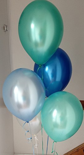 60 Under The Sea Range Pearlised, Helium Quality, Latex Balloons with Curling Ribbon by Beautiful Balloons