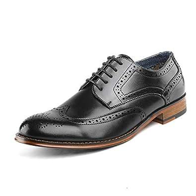 Bruno Marc Paul Zapatos de Cordones Brogue Vestir Oxford Clásico para Hombre