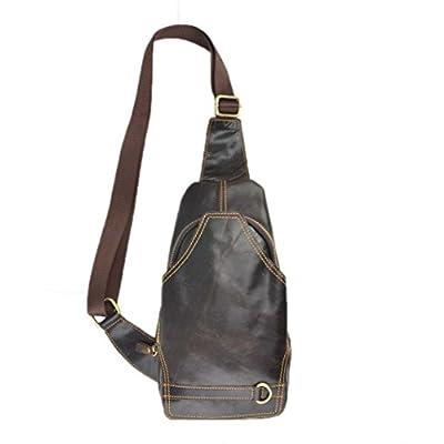 Genda 2Archer Mens Leather Sling Bags Chest Shoulder Bag Crossbody Backpack