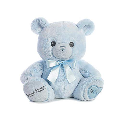 Ebba Personalized Lil Boy Baby Blue Teddy Bear Plush Stuffed Animal Toy with Custom Name