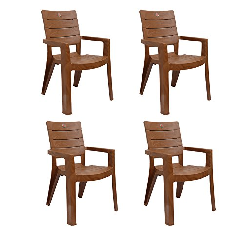 Cello Jordan Plastic Chair, Set of 4, Sandalwood brown