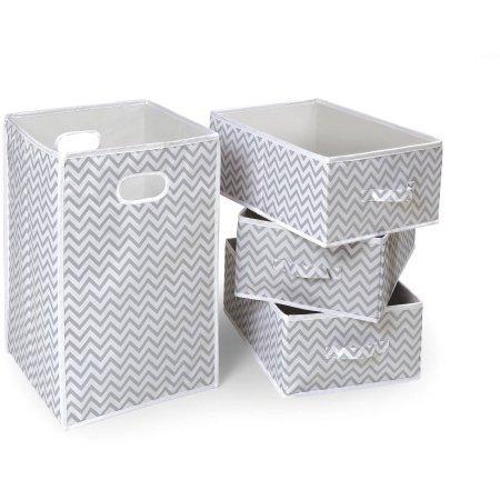 Badger Basket Folding Hamper and 3-Basket Set, Gray Chevron by Badger Basket