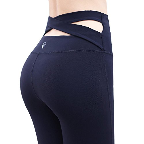 Control Bootcut Legging - Fit Frenchie High Waisted Tummy Control Yoga Pants Sexy High-Rise Light Compression Slimming Non See Through Workout Legging (Medium, Black)