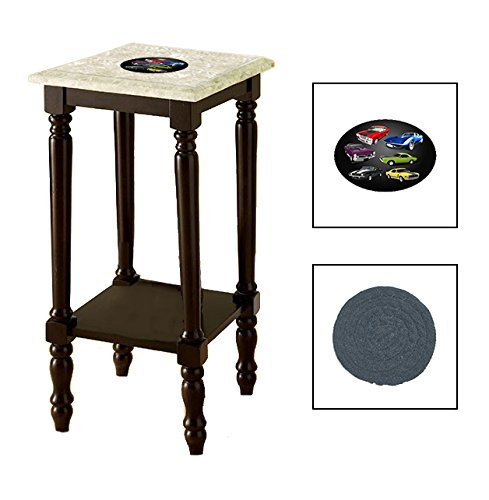 Espresso/Dark Walnut Marble Top Accent Table Featuring the Choice of Your Favorite Novelty Themed Logo on the Top Shelf - FREE Coaster Included (Muscle Cars)
