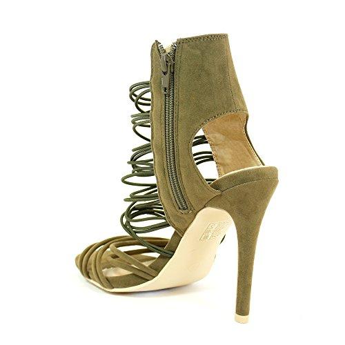 Envy London - Zapatos con tacón mujer caqui