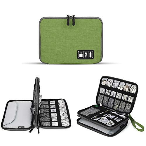 (Electronics Organizer, Jelly Comb Electronic Accessories Cable Organizer Bag Waterproof Travel Cable Storage Bag for Charging Cable, Cellphone, Mini Tablet (Up to 7.9'') and More (Light Green) )