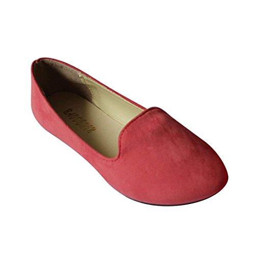 Ballerine Scivolare Sandali Rose Scarpe Ufficio Eleganti Casual Donna Red Lavoro Grande Primavera Estate Taille Ballerina wIqSOnxC5