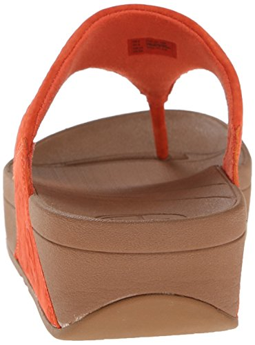 Fitflop Lulu Nubuck - Sandalias de cuero mujer Naranja - Orange (Flame)