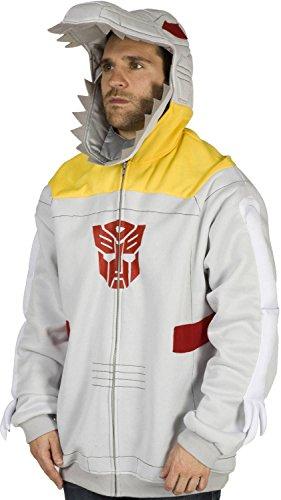 80sTees Men's Transformers Grimlock Costume Hoodie Gray Large -