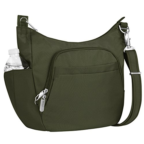 Travelon Anti-Theft Cross-Body Bucket Bag, Olive, One Size
