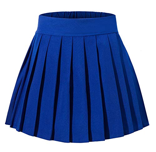 Tremour Women's High Waist Summer Solid Plain School Pleated Skirts(S,Royal Blue) by Tremour