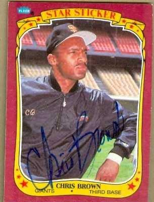 Autograph Warehouse 76548 Chris Brown Autographed Baseball Card San Francisco Giants - 1986 Fleer Star Sticker No .13