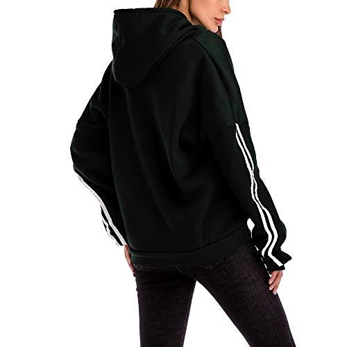Sweatshirt Blouse Size Pocket Women Solid Plus Loose Black Striped Morwind Hooded Casual fqYavWaxpw