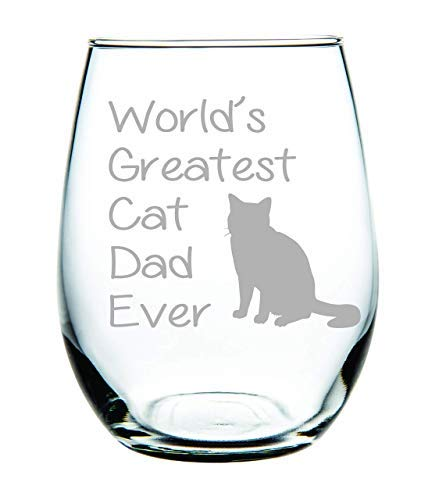 Worlds Greatest Cat - World'S Greatest Cat Dad Ever Stemless Wine Glass 11 Oz(Cat Dad)