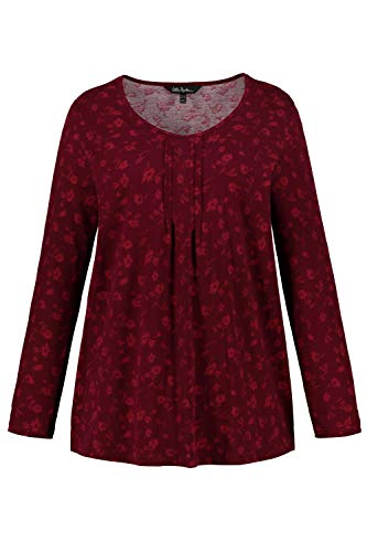 - Ulla Popken Women's Plus Size Floral Vine Print Tee Wine Red Multi 20/22 719339 83