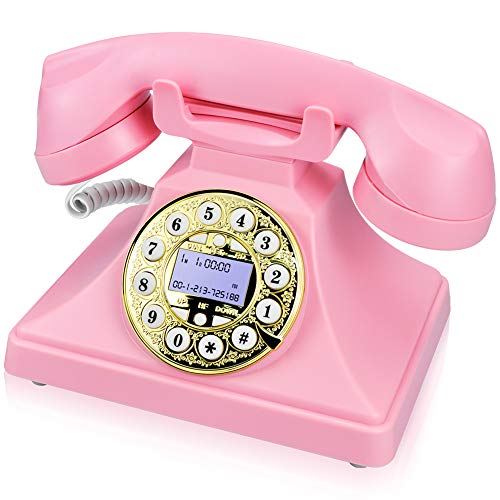 (Pink Retro Landline Phone for Home, IRISVO Vintage Phone Old Fashioned Classic Desk Telephone with LCD Screen Display and Redial,Speaker, Push Button Dialing with A Rotary Look (Pink))