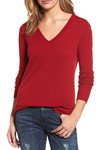 Viottis Women's Basic V-neck Cashmere Wool Blend Pullover Sweater Red XL