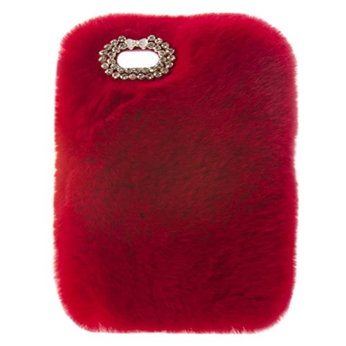 Ipad 2/3/4 Case,Super Deluxe Luxury Bling Diamond Bowknot Pendant Fluffy Winter Warm Furry Fluffy Beaver Rex Rabbit Fur Case for Apple Ipad 2/ipad 3/ipad 4(A Red)