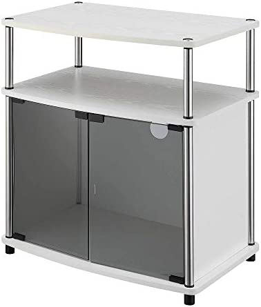 Convenience Concepts Designs2Go TV Stand with Black Glass Cabinet, White