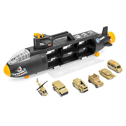 Price comparison product image Best Choice Products Military Submarine Shark Car Carrier Toy w/ 6 Military Vehicles and 13 Slots