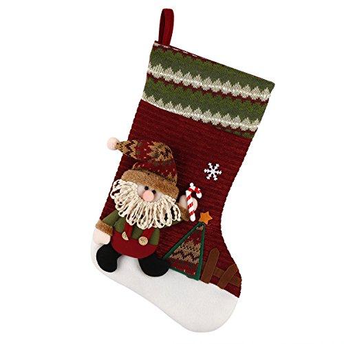 Cyber Monday Deal Classic Christmas Stocking Cute Santa Toys Burlap Stockings Festive Decor 3D Plush Hanging Xmas Decorations Gift 18 inch ()
