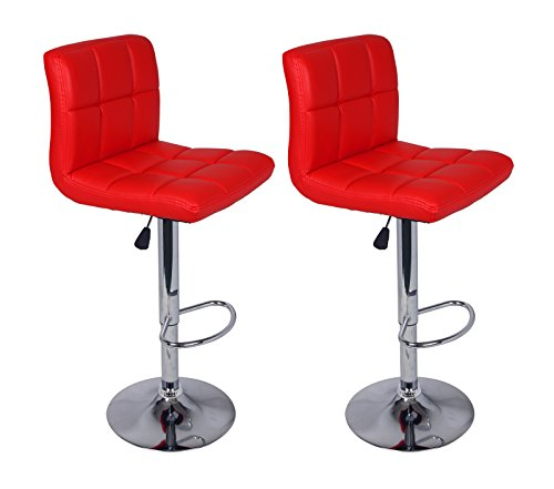 Legacy Decor Set of 2 Barstools Adjustable Swivel Faux Leather Square Stitch Design Red Color