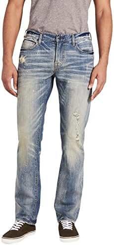 Aeropostale Men's Slim Straight Destroyed Medium Wash Jean
