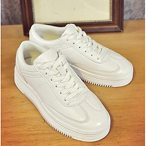 Donna Sneakers Primavera Per UK3 PU Bianco Estate 5 Scarpe White Chiusa Nero Piatto Poliuretano Comoda EU36 CN35 5 Punta Rosa TTSHOES US5 q8w5Wgfq