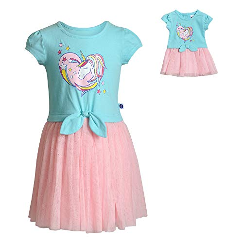 Dollie & Me Girls' Unicorn Dress with Matching 18 Inch Doll Outfit Set, Blue, 5 ()