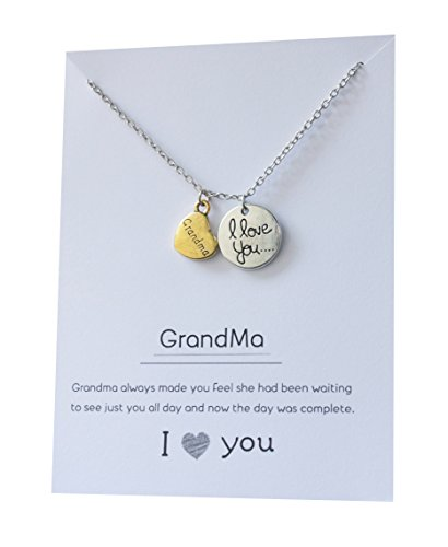 Grandma necklace pendant gift card jewelry love you grandmother heart moon back 18 inch