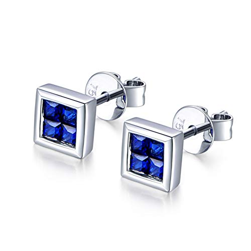 Gems.RDX Women's 18K White Gold and Sapphire Pierced Earrings Luxury Jewelry Ear Stud for Girlfriend Wife Birthday Christmas