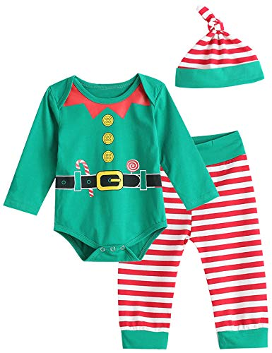 Christmas Elf Outfit Set Baby Boy Girl Xmas Striped Bodysuit with Hat (Green, 3-6 Months) -