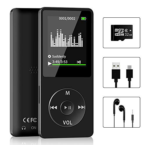 Aigital MP3 Muisc Player with 32 GB Micro SD Card and Support Up to 128GB, Music Player with FM Radio/E-Book, HiFi Lossless Sound(Built-in Speaker)
